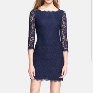 DVF Zarita 3/4 sleeve lace dress in midnight
